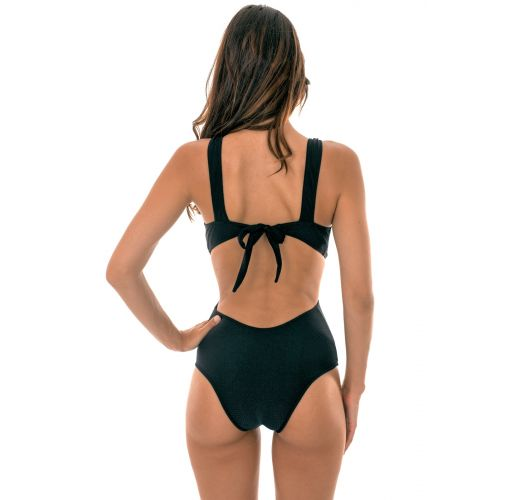 1 piece black textured swimsuit with a deep neckline - DUNA BLACK TRIQUINI
