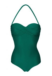 Draperet bandeau badedragt i tekstureret materiale - DUNA GREEN ONE PIECE