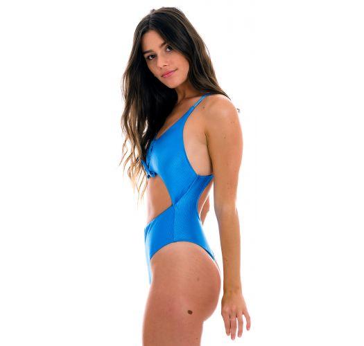 Getextureerd blauw Braziliaans badpak met uitsparing aan de voorkant - EDEN-ENSEADA IVY STRAP
