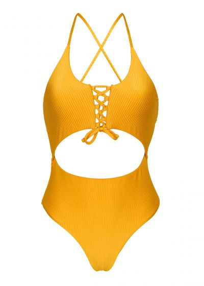 Textured yellow Brazilian one-piece swimsuit with belly cutout - EDEN-PEQUI IVY STRAP