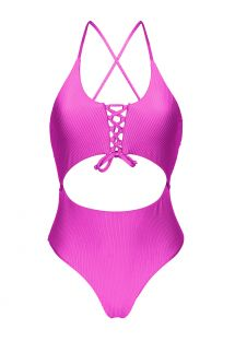 Textured pink Brazilian one-piece swimsuit with belly cutout - EDEN-PINK IVY STRAP