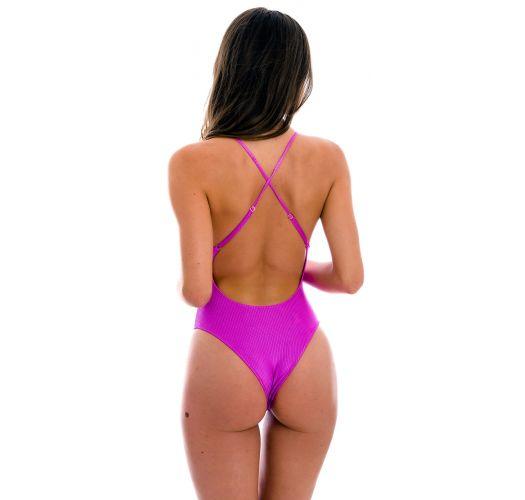 Brazilian Badeanzug magentafarben texturiert, Cut-Out im Bauchbereich - EDEN-PINK IVY STRAP