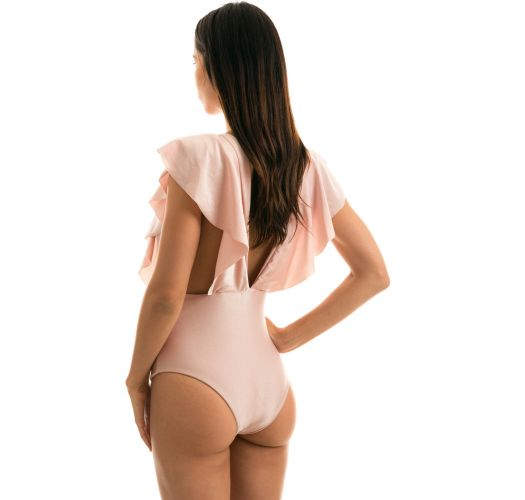 Nude pink plunging one-piece swimsuit with ruffles - ESSENCE FRILL