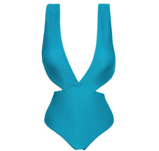 Trikini décolleté plongeant bleu texturé - FIORDE TRIKINI