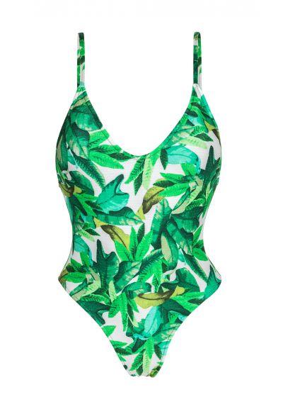 Leaves print one-piece swimsuit - FOLHAGEM HYPE