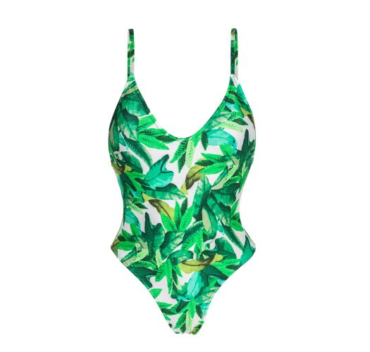 Leaves print one-piece swimsuit - FOLHAGEM HYPE
