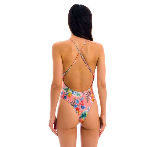 Coral pink print Brazilian one-piece swimsuit with belly cutout - FRUTTI IVY