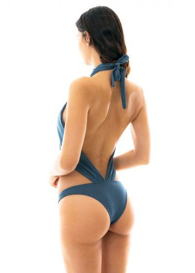 Skifferblå hel baddräkt med halsknytning - GALAXIA MAIO