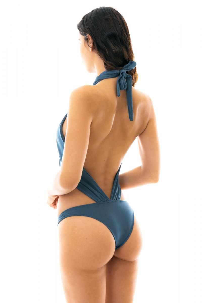 Slate blue1 piece swimsuit tied around neck - GALAXIA MAIO