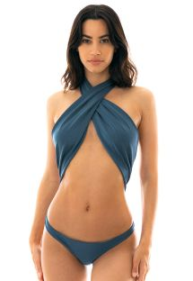 Slate blue1 piece swimsuit tied around neck - GALAXIA MAIO