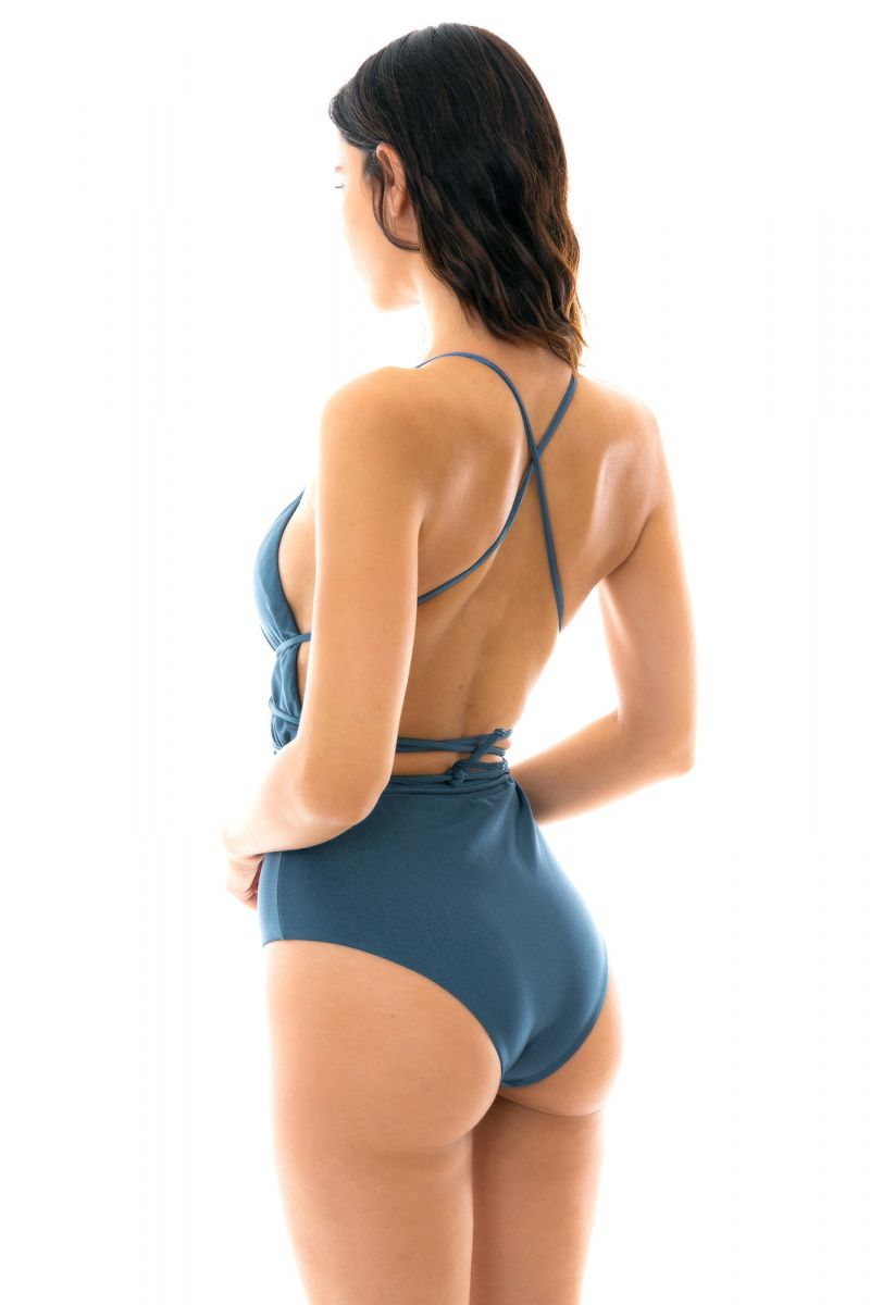 Blue plunging one-piece swimsuit waist-tied - GALAXIA NEW VEGAS