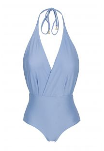 Denim blue textured one-piece swimsuit - GAROA TRANSPASSADO