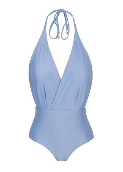 Denim blue textured one-piece swimsuit - GAROA TRANSPASSADO