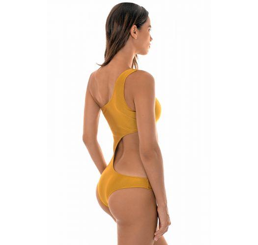 Сплошной асимметричный купальник с одним плечом золотистого цвета - GOLD ASSIMETRICO