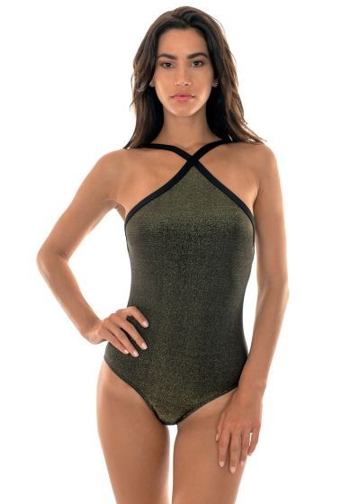 Shiny black lurex one-piece swimsuit - HIGH NECK RADIANTE