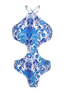 Yüksek boyunlu mavi/beyaz çiçek desenli trikini - HORTENSIA BODY DECOTE
