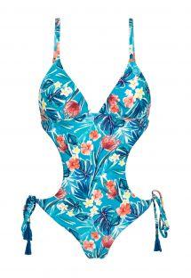 Monokini scrunch brasiliano blu floreale - ISLA TRIKINI