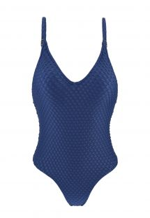 Blue textured high leg one-piece swimsuit - KIWANDA DENIM HYPE