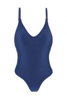 Granatowy teksturowany wysoko wycięty kostium kąpielowy - KIWANDA DENIM HYPE