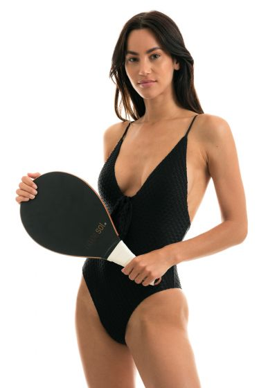 Black textured fabric high-leg swimsuit with front knot - KIWANDA PRETO HYPE NO