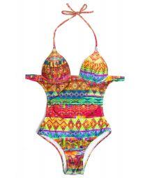 Multicoloured ethnic trikini with firm cups - LAVEZZI