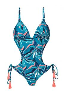 Blue and pink Brazilian scrunch monokini - LILLY TRIKINI