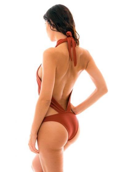 Iridescent brick 1 piece swimsuit tied around neck - LIQUOR MAIO