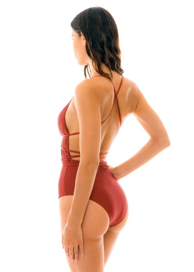 Burgundy plunging one-piece swimsuit - LIQUOR NEW VEGAS