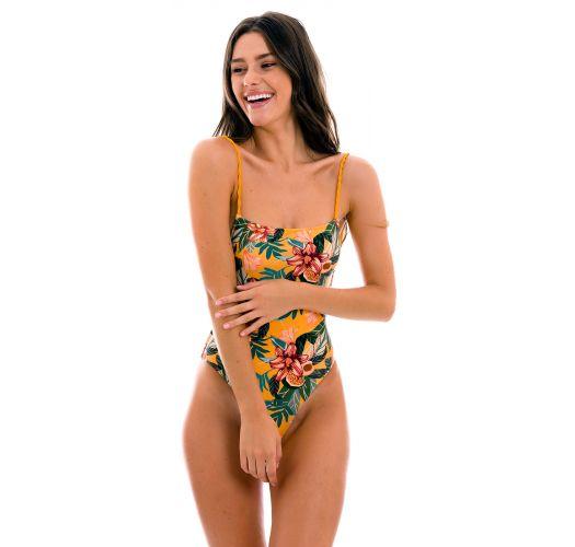 Orange-yellow 1-piece swimsuit with twisted ties - LIS ELLA