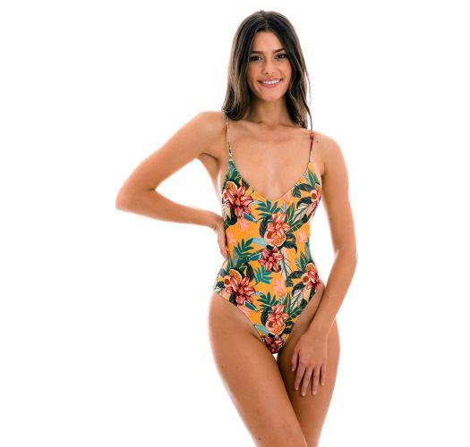 Orange yellow high-leg one-piece swimsuit - LIS HYPE