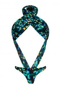 Sexy neck-tied printed monokini - LUCE MAIO