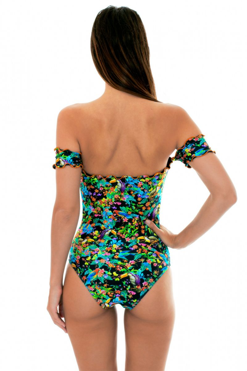 Black floral one-piece swimsuit with sleeves - REALITY FLOWER MAIO OFF SHOULDER