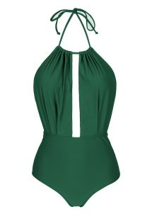 Green low-cut one-piece swimsuit - MANDACARU DECOTE PROFUNDO