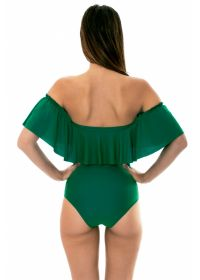 Floucy green one-piece bandeau swimsuit - MANDACARU MAIO BABADO