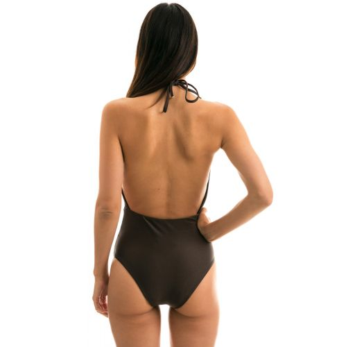 One-piece iridescent brown swimsuit - METEORITE TRANSPASSADO