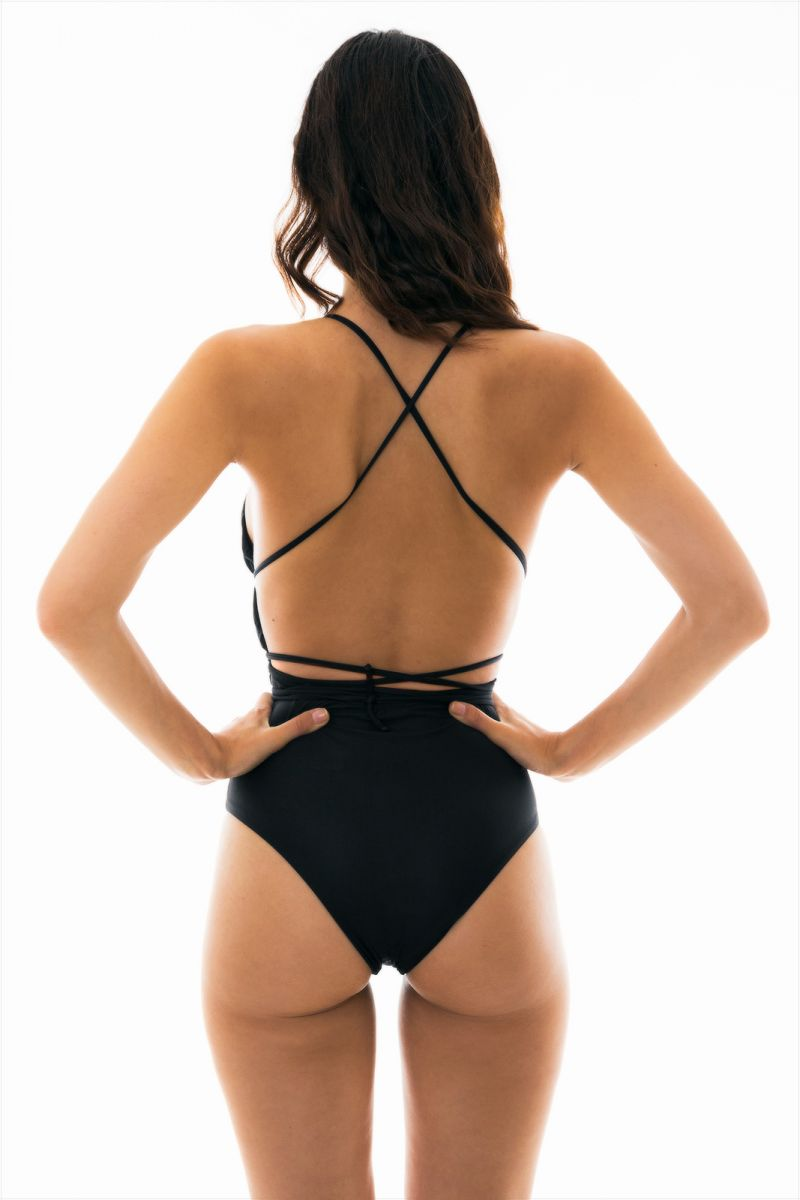 Black plunging one-piece swimsuit with slim back crossed straps - NEW VEGAS BLACK