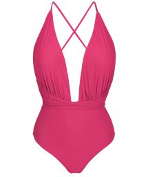 Fuchsia one-piece swimsuit with plunging neckline - NEW VEGAS OLINDA