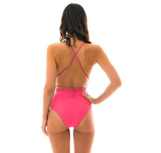 Badeanzug, fuchsienfarben, tiefausgeschnitten - NEW VEGAS OLINDA