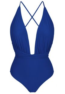 Navy blue one-piece swimsuit with plunging neckline - NEW VEGAS PLANET BLUE