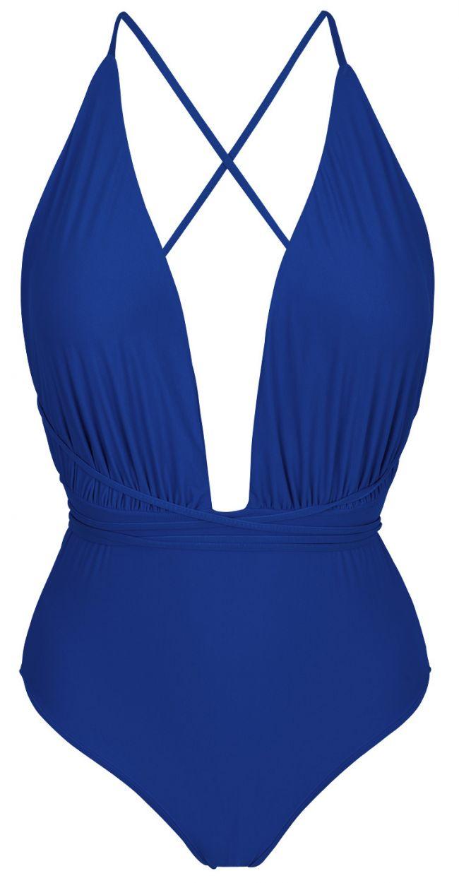 Marinblå hel baddräkt med knytband och djup urringning - NEW VEGAS PLANET BLUE