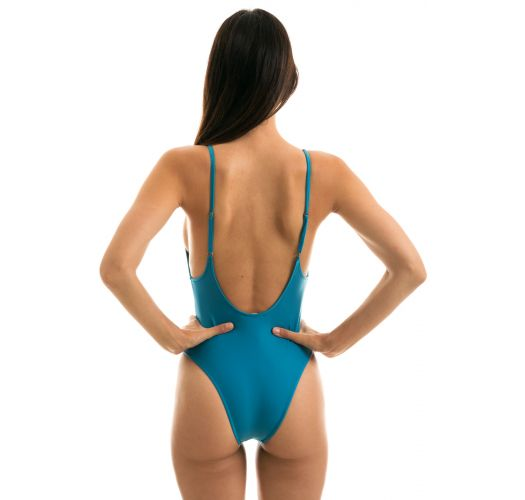 Blue high-leg swimsuit with adjustable straps - NILO HYPE