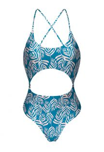 Blue flowered Brazilian one-piece swimsuit with belly cutout - PALMS-BLUE IVY