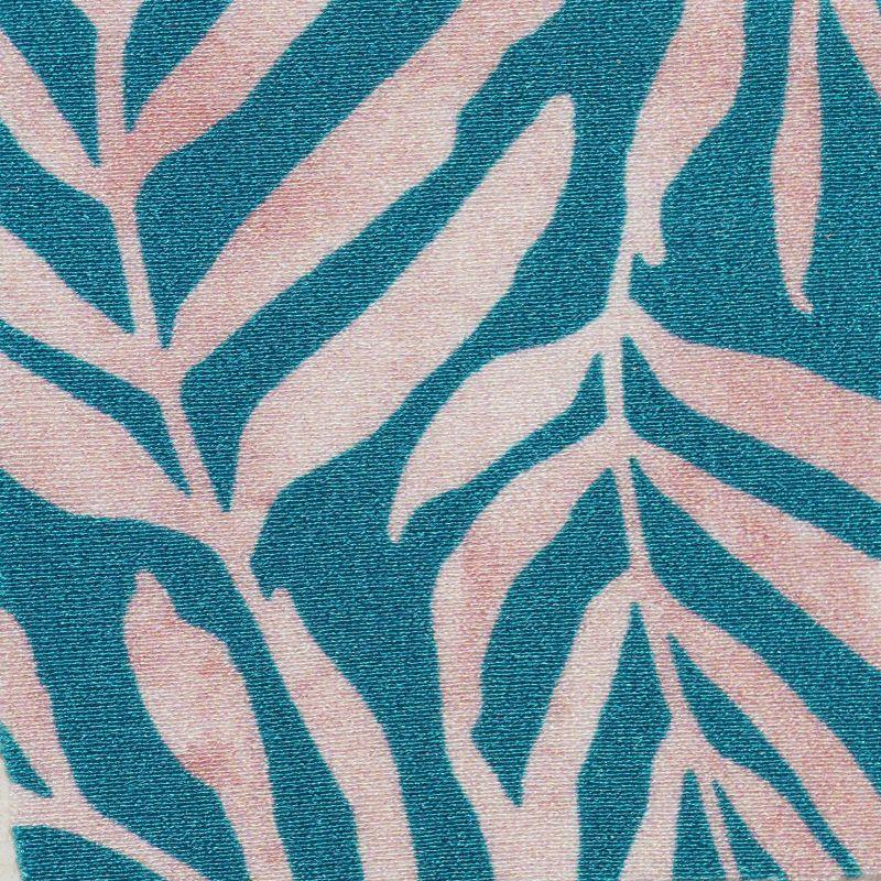 Maillot 1pièce brésilien découpe ventre bleu motif feuilles - PALMS-BLUE IVY