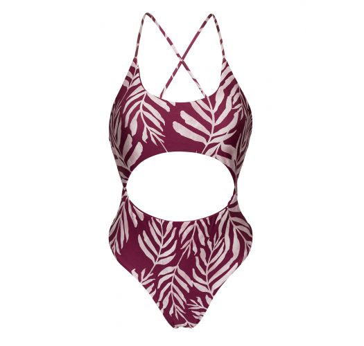 Wine flowered Brazilian one-piece swimsuit with belly cutout - PALMS-VINE IVY