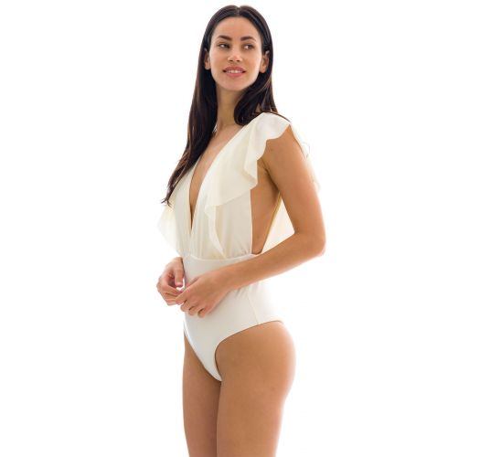 Off-white one-piece plunging neckline swimsuit with ruffles - PEROLA FRILL