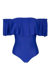 Dark blue bandeau one-piece swimsuit with frill - PLANETARIO MAIO