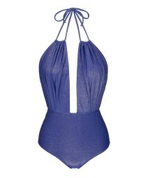 Blue lurex one-piece swimsuit plunging neckline - RADIANTE AZUL DECOTE PROFUNDO