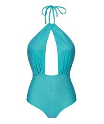 Blue lurex deeply plunging one-piece swimsuit - RADIANTE AZUL SENSATION