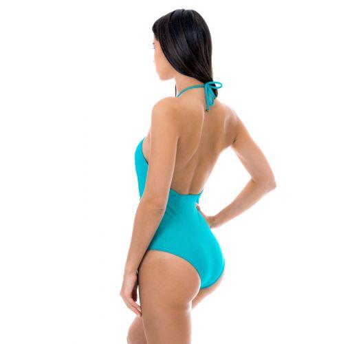 Сплошной купальник из голубого люрекса сдекольтированным вырезом - RADIANTE AZUL SENSATION