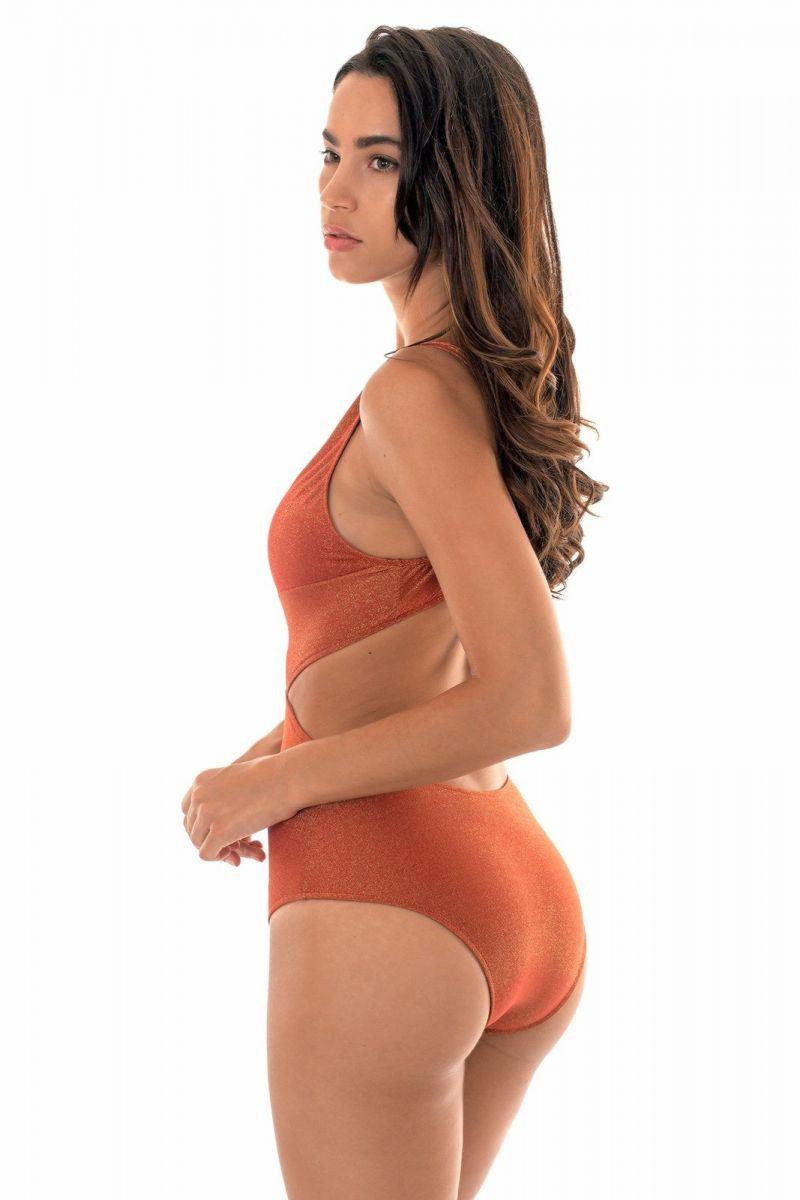 Plunging neckline trikini in copper lurex - RADIANTE CANELA TRIQUINI